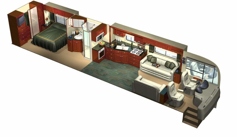 Delicieux 3D RV Motorhome Cutaway Interior.